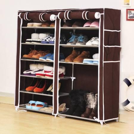 普润 双排七层鞋架 钢管鞋架 简易鞋架 防尘换鞋架 咖啡色