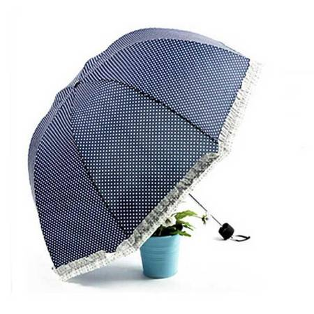普润 太阳伞三折防晒遮阳伞女拱形公主晴雨折叠伞藏青色