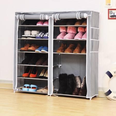 普润 双排七层鞋架 钢管鞋架 简易鞋架 防尘换鞋架 灰色