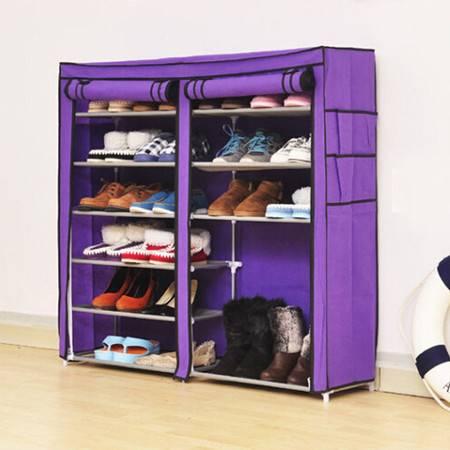 普润 双排七层鞋架 钢管鞋架 简易鞋架 防尘换鞋架紫色