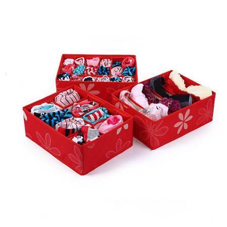 友纳 牛津布印花收纳三件套--无盖(6格+8格+18格)内衣收纳盒(大红)