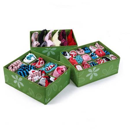 友纳 牛津布印花收纳三件套--无盖(6格+8格+18格)内衣收纳盒(果绿)