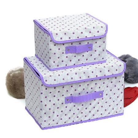 友纳 点子纹收纳整理箱多功能可折叠收纳箱收纳盒(大号)紫色
