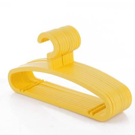 普润 糖果色防滑衣架 晾衣服架 干湿两用防滑衣架无痕塑料衣挂衣撑 黄色  10只装