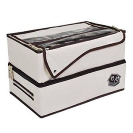 简约款牛津布一体式双层内衣收纳盒/收纳箱 米白色