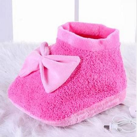 享优优系列大蝴蝶结可插电式两档调温型可拆洗电暖鞋/暖脚宝 玫红+粉红