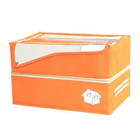 简约款牛津布一体式双层内衣收纳盒/收纳箱 橙色