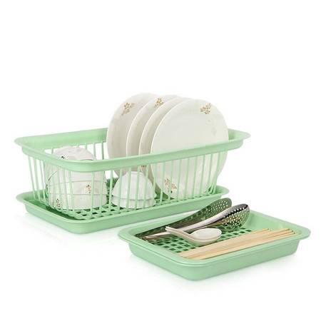 家英格珊式小号沥水碗碟架+小号双层沥水盘 两件套
