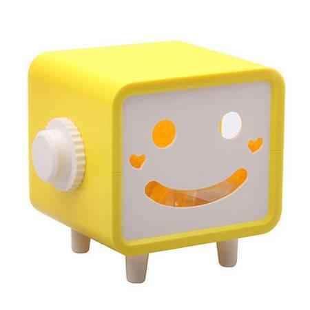 普润 可转动笑脸纸巾抽/纸巾盒-黄色
