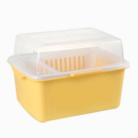 家英带盖欧式沥水碗架/餐具收纳盒-浅黄色(A241-6)