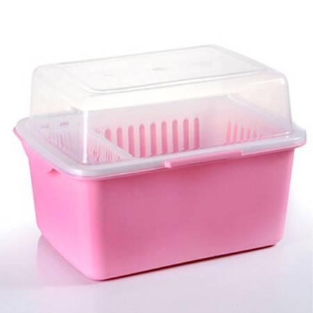 家英带盖欧式沥水碗架/餐具收纳盒-浅粉色