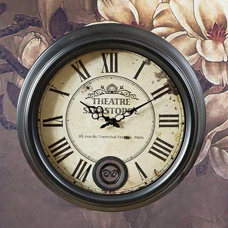 经典欧式 铁艺挂钟/装饰挂钟/仿古挂钟 黑色