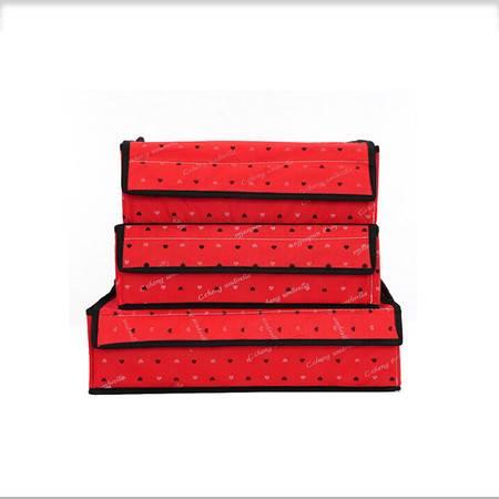 卡秀 带盖三件套 收纳盒收纳箱 衣物收纳整理盒--红色爱心