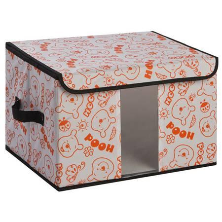 无纺布收纳盒百纳箱 透视窗收纳箱 内衣整理箱储物箱 大号橘色小熊40*30*25cm