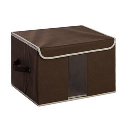 无纺布收纳盒百纳箱 透视窗收纳箱 内衣整理箱储物箱 小号咖啡色35*25*25