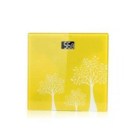 普润 黄色印花款电子称 体重秤电子秤人体秤体重计健康秤