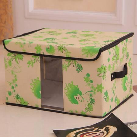 无纺布收纳盒百纳箱 透视窗收纳箱 内衣整理箱储物箱 大号绿色女人花40*30*25cm