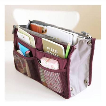 普润 包中包内胆包收纳袋化妆包便携洗漱袋女包手拿收纳包 酒红色