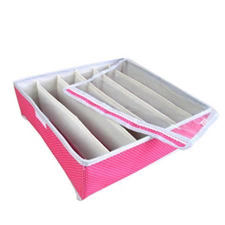 耀点100 粉色圆点6格内衣收纳盒 牛津布透明盖收纳盒储物盒