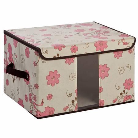 无纺布收纳盒百纳箱 透视窗收纳箱 内衣整理箱储物箱 小号粉色女人花35*25*25cm
