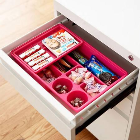 普润 炫彩易分类双层抽屉收纳盒--红色
