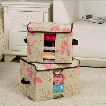 无纺布收纳盒百纳箱 透视窗收纳箱 大号粉色叶子40*30*25cm