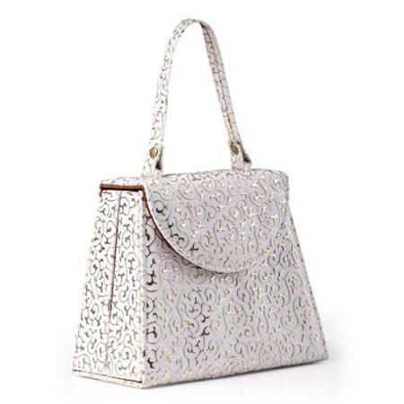 开馨宝 手提包造型首饰收纳盒/饰品盒-白色凸纹(K8509-2)