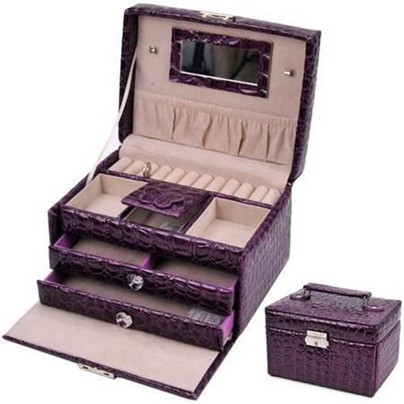 开馨宝 梯形PU三层大容量首饰盒/饰品收纳盒