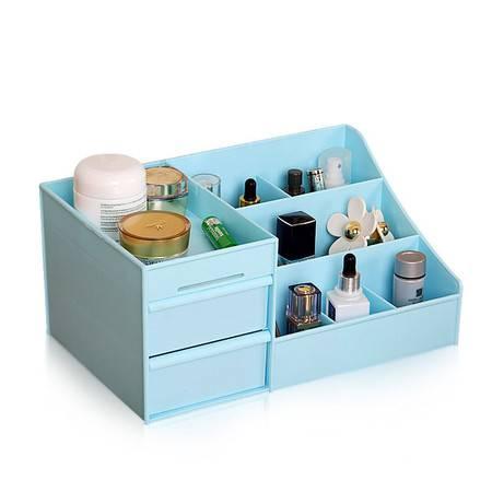 开馨宝 双抽屉桌面化妆品收纳盒-蓝色(K8247-1)