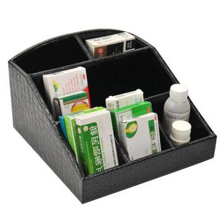 开馨宝 鳄鱼纹化妆品收纳盒/桌面收纳整理盒-黑色(K8523-1)