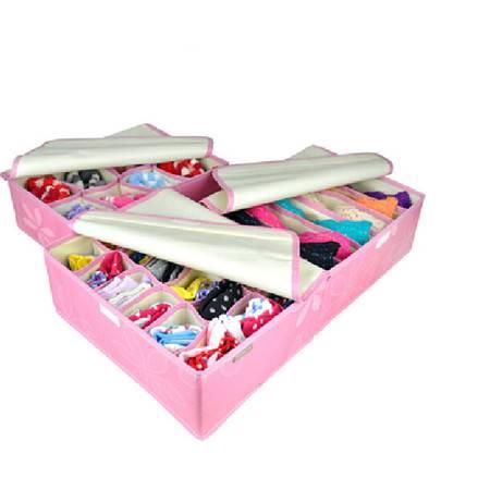 红兔子 牛津布加高文胸内衣收纳盒 带盖收纳三件套粉色