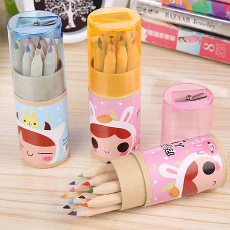 带卷笔刀12色筒装彩色铅笔--卡通小兔