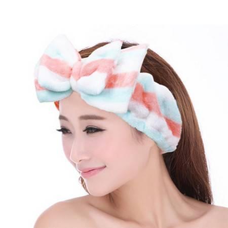 双蝴蝶结束发带洗脸发带 毛绒发箍化妆头巾 粉蓝白条纹
