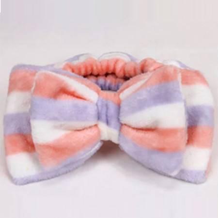 双蝴蝶结束发带洗脸发带 毛绒发箍化妆头巾 粉紫白条纹