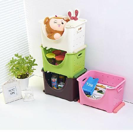 可叠加塑料水果蔬菜收纳箱储物筐厨房置物架 水果架整理架(小号)咖啡色三个装