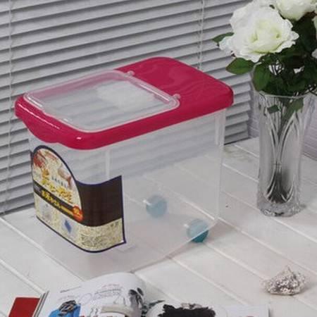 圣强厨房用品10KG米桶保鲜大米透明储米器储米箱带滑轮 玫红色