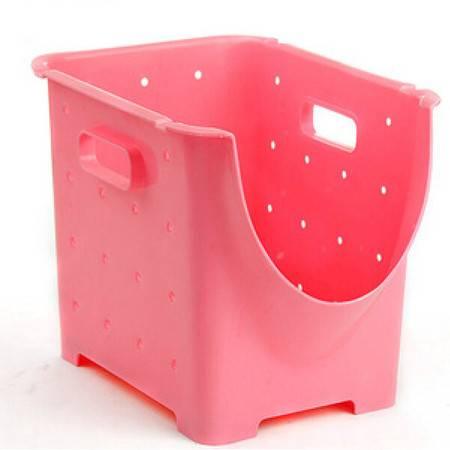 可叠加塑料水果蔬菜收纳箱储物筐厨房置物架 水果架整理架(小号)21.5*28*23cm粉色三个装