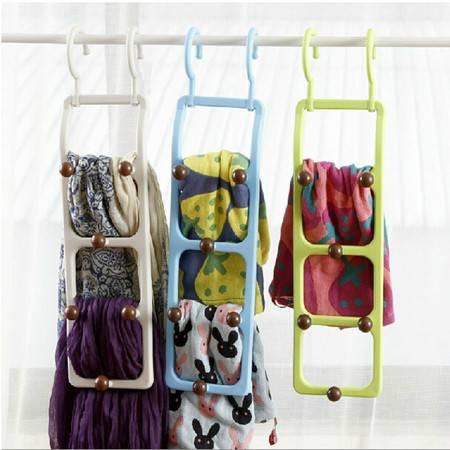 圣强 衣柜用领带皮带丝巾挂钩 塑料多头挂钩粉色