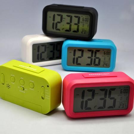 普润 夜光 懒人 静音时钟 电子钟 光感闹钟 贪睡 聪明钟 时尚 LED闹钟 绿色