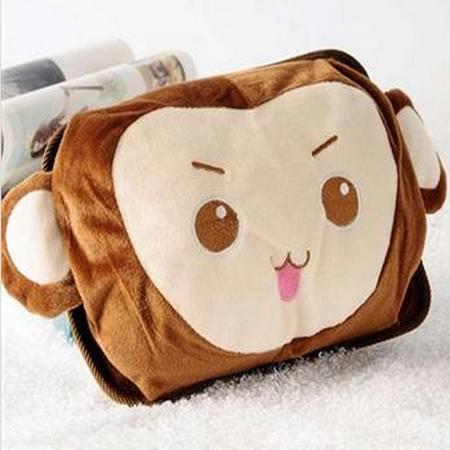 可爱卡通双插手热水袋/电暖袋 未注水--棕色猴子806