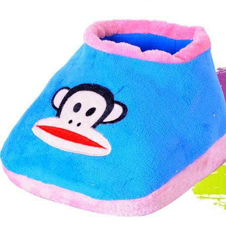 享优优系列大嘴猴可插电式两档调温型卡通电暖鞋/可拆洗暖脚宝 蓝色