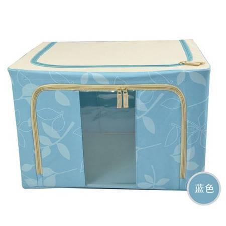 普润 100L蓝色 牛津布钢架百纳箱 整理收纳箱 蓝色色树叶 单视 双开门