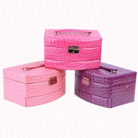 开馨宝欧式经典三层首饰盒/饰品收纳盒-玫红色