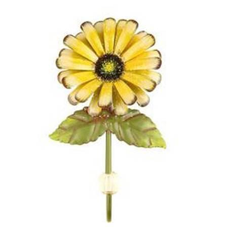 普润 时尚 创意铁皮菊花挂钩 家居墙壁装饰品衣帽钩 田园风挂钩 黄色