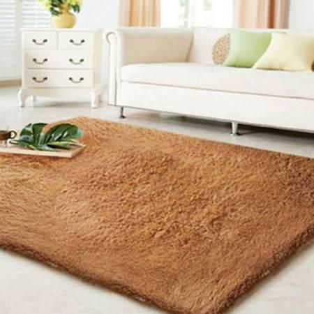 普润 顺滑加厚丝毛 客厅地毯 茶几地毯 卧室地毯 80*120cm香槟色
