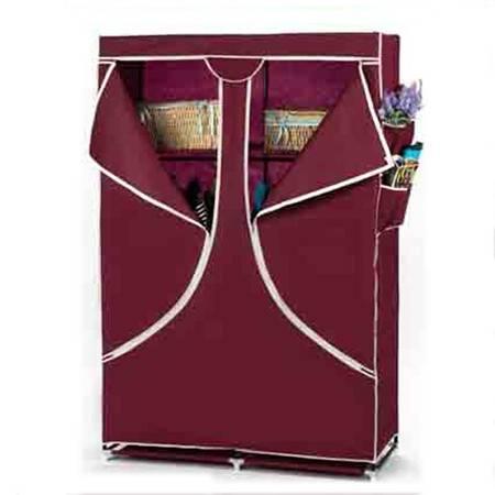 普润 双人加固钢架折叠简易衣柜 中号 酒红色
