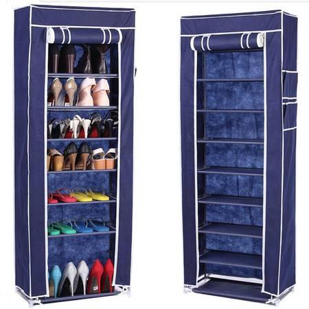 普润 十层加固钢架整理收纳男女鞋柜十层鞋架 深蓝色