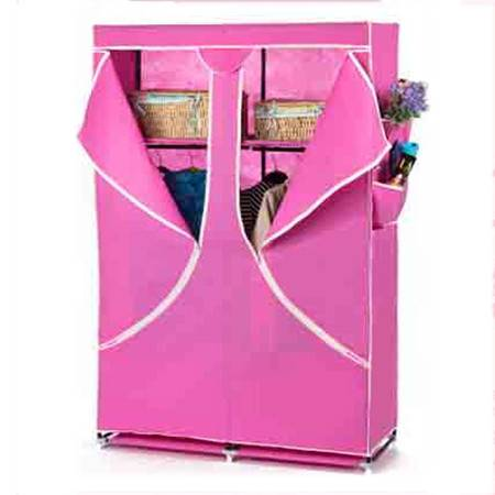 普润 双人加固钢架折叠简易衣柜 中号 玫红色