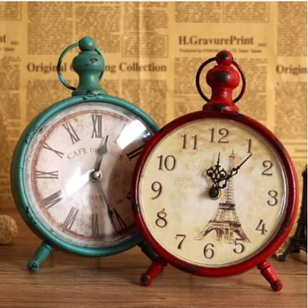 普润 复古铁艺挂钟 时尚欧式客厅卧室装饰品创意静音时钟表 红色
