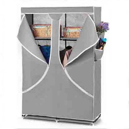 普润 双人加固钢架折叠简易衣柜 中号 灰色